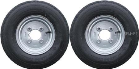 "A Pair of 4.80 / 4.00 x 8 Wheels and Tyres 4 Ply 4"" PCD"